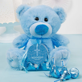 Personalized Boy Confirmation Elegant Cross Blue Teddy Bear and Organza Bag with Hershey's Kisses