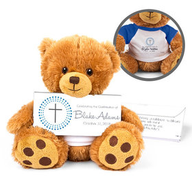 Personalized Confirmation Boy's Radiant Cross Teddy Bear with Belgian Chocolate Bar in Deluxe Gift Box