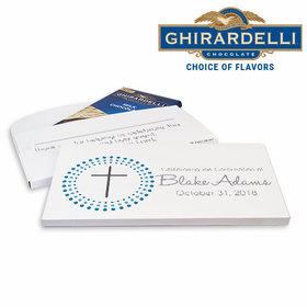Deluxe Personalized Confirmation Boy Calvery Cross Ghirardelli Chocolate Bar in Gift Box