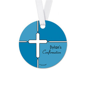 Personalized Round Bold Cross Confirmation Favor Gift Tags (20 Pack)
