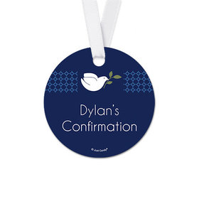 Personalized Round Dove Confirmation Favor Gift Tags (20 Pack)