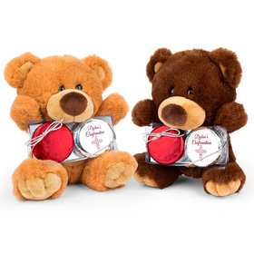 Personalized Confirmation Scarlet Cross Teddy Bear with Chocolate Covered Oreo 2pk