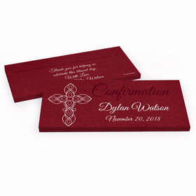Deluxe Personalized Confirmation Crimson Cross Chocolate Bar in Gift Box