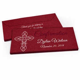 Deluxe Personalized Confirmation Crimson Cross Candy Bar Favor Box