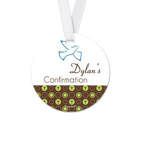 Personalized Round Soaring Dove Confirmation Favor Gift Tags (20 Pack)