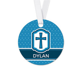 Personalized Round Framed Cross Confirmation Favor Gift Tags (20 Pack)