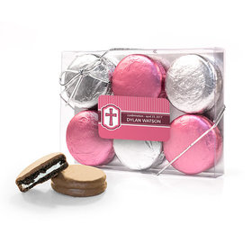 Personalized Confirmation Pink Hexagonal Pattern Engraved Cross 6PK Chocolate Covered Oreo Cookies
