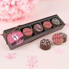 Personalized Girl Confirmation Classic Cross Gourmet Chocolate Truffle Gift Box (5 Truffles)