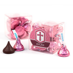 Personalized Confirmation Pink Hexagonal Pattern Engraved Cross Clear Gift Box with Sticker