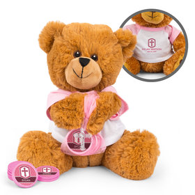 Personalized Confirmation Girl's Engraved Cross Teddy Bear with Chocolate Coins in XS Organza Bag