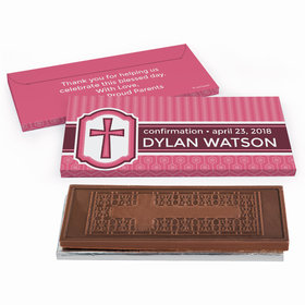 Deluxe Personalized Confirmation Framed Cross Embossed Chocolate Bar in Gift Box