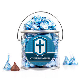 Personalized Confirmation Blue Hexagonal Pattern Engraved Cross Silver Paint Can with Sticker