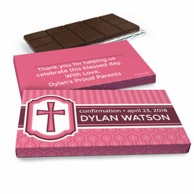 Deluxe Personalized Confirmation Girl's Framed Cross Chocolate Bar in Gift Box (3oz Bar)