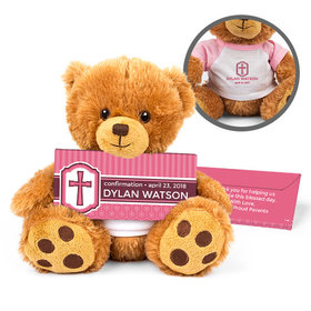 Personalized Confirmation Girl's Engraved Cross Teddy Bear with Belgian Chocolate Bar in Deluxe Gift Box