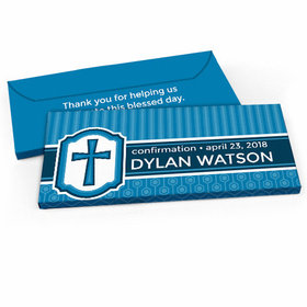Deluxe Personalized Confirmation Framed Cross Candy Bar Favor Box