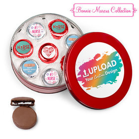 Personalized Nurse Appreication Add Your Logo Red Tin with 16 Chocolate Covered Oreo Cookies