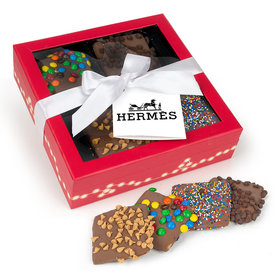 Personalized Christmas Add Your Logo Gourmet Belgian Chocolate Covered Graham Crackers Gift Box (12 pcs)