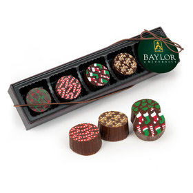 Personalized Christmas Add Your Logo Gourmet Belgian Chocolate Truffle Gift Box (5 Truffles)