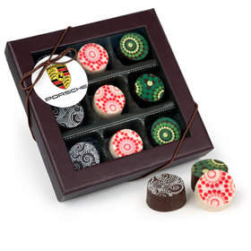 Personalized Christmas Add Your Logo Gourmet Belgian Chocolate Truffle Gift Box (9 Truffles)