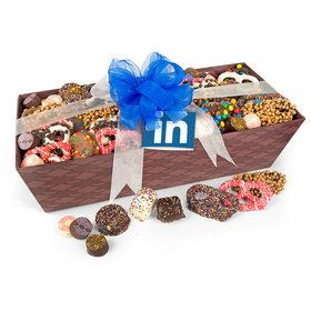 Personalized Christmas Add Your Logo Gourmet Belgian Chocolate Large Gift Basket (3lbs)