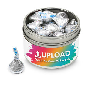Add Your Artwork Small Tin with Silver Hershey's Kisses