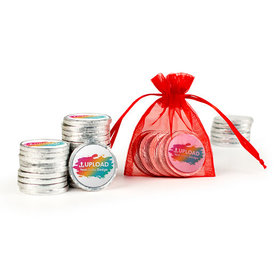 Add Your Logo Extra Small Organza Bag of Silver Chocolate Coins
