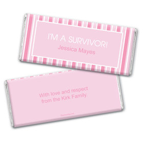 Breast Cancer Awareness Personalized Chocolate Bar Wrappers Pinstripe Breast Cancer Survivor