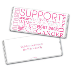 Breast Cancer Awareness Personalized Chocolate Bar Wrappers Breast Cancer Words for a Cure