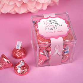 Personalized Breast Cancer Awareness Be the Hope JUST CANDY® favor cube with Hershey's Kisses