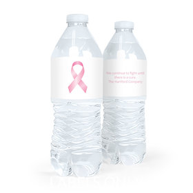 Personalized Breast Cancer Awareness Pink Ribbon Water Bottle Sticker Labels (5 Labels)