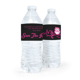 Personalized Breast Cancer Awareness Save the Hooters Water Bottle Sticker Labels (5 Labels)