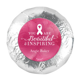 """Personalized Breast Cancer Awareness Pink Inspiration 1.25"""" Stickers (48 Stickers)"""