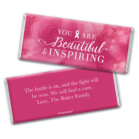 Personalized Breast Cancer Pink Inspiration Chocolate Bar & Wrapper