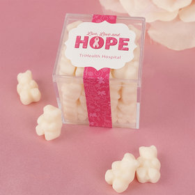 Personalized Breast Cancer Awareness Live Love Hope JUST CANDY® favor cube with Gummy Bears