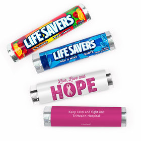 Personalized Breast Cancer Awareness Live Love Hope Lifesavers Rolls (20 Rolls)