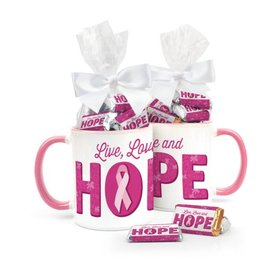 Personalized Breast Cancer Awareness Live Love Hope 11oz Mug with approx. 24 Add Your Logo Hershey's Miniatures