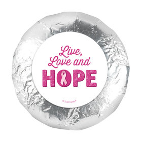 """Personalized Breast Cancer Awareness Live Love Hope 1.25"""" Stickers (48 Stickers)"""