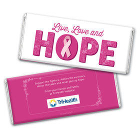 Personalized Breast Cancer Live Love Hope Chocolate Bar & Wrapper