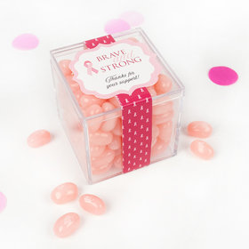 Personalized Breast Cancer Awareness Brave and Strong JUST CANDY® favor cube with Jelly Belly Jelly Beans