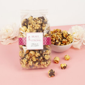 Personalized Breast Cancer Awareness Brave & Strong Chocolate Caramel Sea Salt Gourmet Popcorn 8 oz Bags