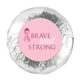"""Personalized Breast Cancer Awareness Brave and Strong 1.25"""" Stickers (48 Stickers)"""
