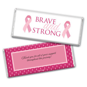 Personalized Breast Cancer Awareness Brave and Strong Chocolate Bar Wrappers Only