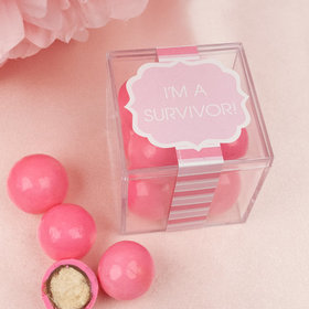 Personalized Breast Cancer Awareness JUST CANDY® favor cube with Premium Malted Milk Balls