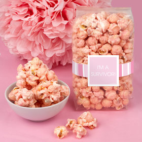 Breast Cancer Awareness Pinstripe Candy Coated Popcorn 8 oz Bags