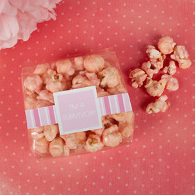 Breast Cancer Awareness Pinstripe Candy Coated Popcorn 3.5 oz Bags