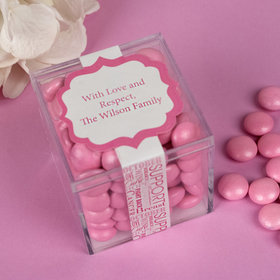 Personalized Breast Cancer Awareness JUST CANDY® favor cube with Just Candy Milk Chocolate Minis