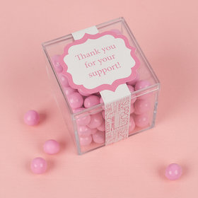 Personalized Breast Cancer Awareness Strength in Words JUST CANDY® favor cube with Sixlets Chocolate