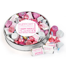 Personalized Breast Cancer Awareness Large Plastic Tin Hershey's & Reese's Mix