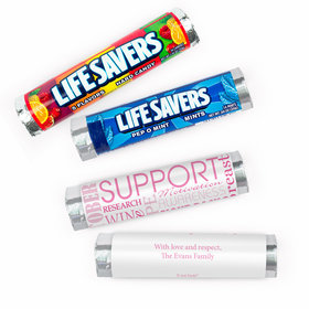 Personalized Breast Cancer Awareness Strength in Words Lifesavers Rolls (20 Rolls)