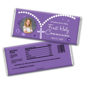 Communion Personalized Chocolate Bar Wrappers Photo Rosary